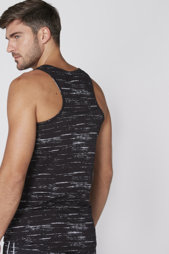 Printed Vest with Scoop Neck and Racer Back
