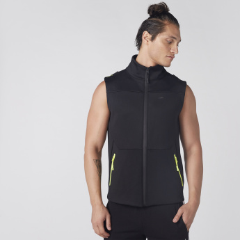 Sleeveless Jacket with Zip Closure