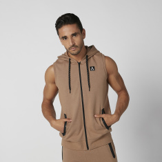Printed Sleeveless Jacket with Kangaroo Pockets and Hood