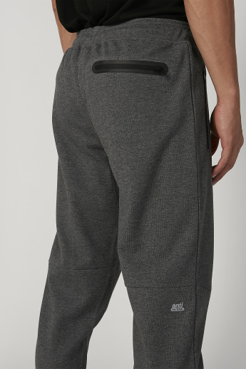 Full Length Printed Jog Pants with Zip Pockets and Drawstring