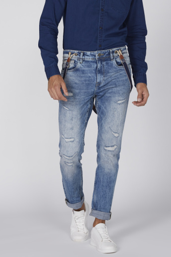 Distressed Full Length Jeans with Button Closure and Suspenders