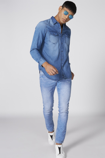 Full Length Jeans with Zip Closure and Pocket Detail