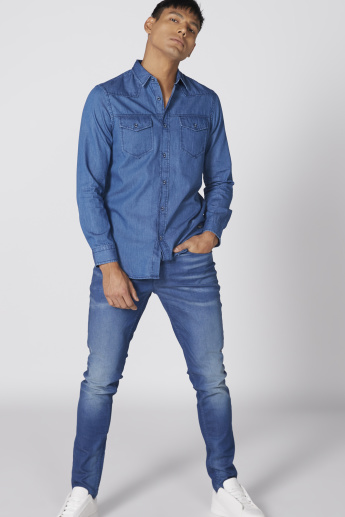 Denim Shirt with Long Sleeves and Front Pockets