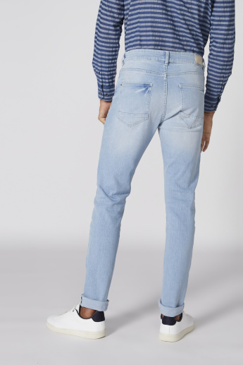 Pocket Detail Full Length Jeans with Button Closure in Skinny Fit