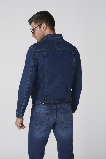 Denim Jacket with Long Sleeves and Button Placket