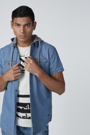 Denim Shirt with Hood and Pocket Detail