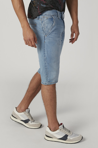 Plain Mid-Rise Shorts with Pocket Detail and Belt Loops