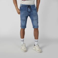 Sustainability Denim Mid Waist Shorts with Tape and Pocket Detail