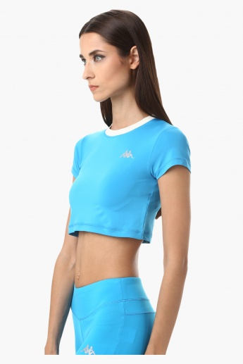 Kappa Crop Top with Round and Contrast Ribbed Neck in Regular Fit