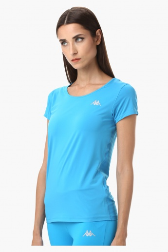 Kappa Round Neck T-Shirt with Jacquard Mesh at the Back and Short Sleeves in Regular Fit
