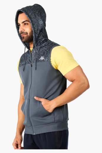 Kappa Hooded Sleeveless Casual Jacket with Printed Cut N Sew