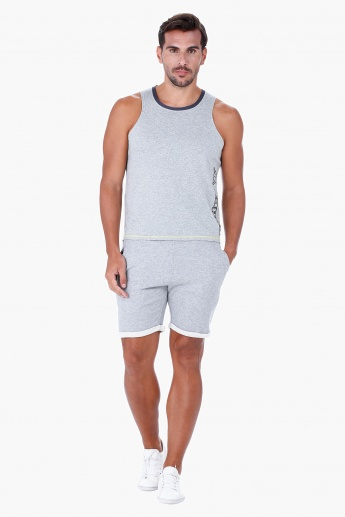 Kappa Sleeveless Vest with Mesh Insert and Round Neck