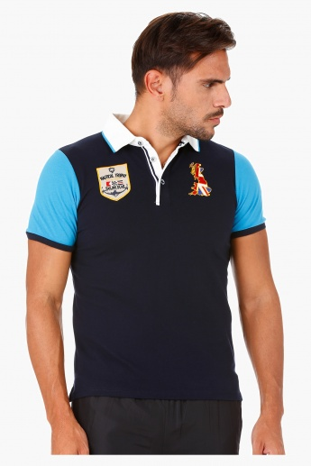 Kappa Polo Neck T-Shirt with Colour-block and Badges