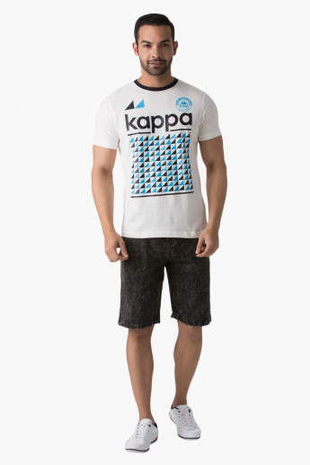 Kappa Graphic Print Cotton T-Shirt with Round Neck and Short Sleeves