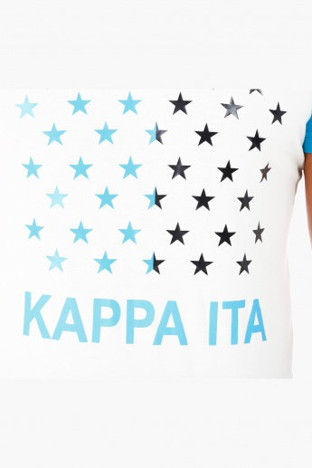 Kappa Printed Cotton T-Shirt with Crew Neck and Short Sleeves