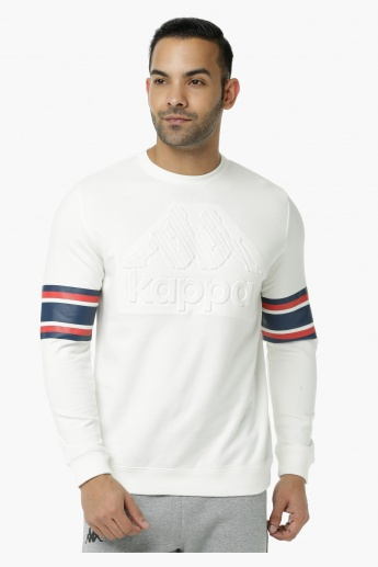 Kappa Printed Sweatshirt with Crew Neck and Long Sleeves