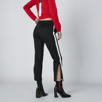 Kappa Side Slit Pants with Tape Detail and Drawstring