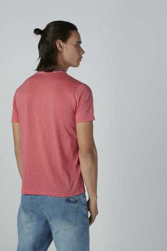 Bossini Chest Pocket Detail T-shirt with Round Neck and Short Sleeves