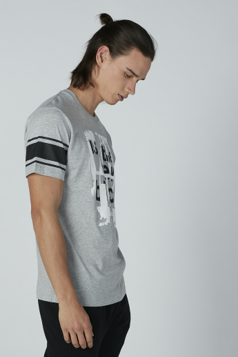 Bossini Printed T-shirt with Round Neck and Short Sleeves