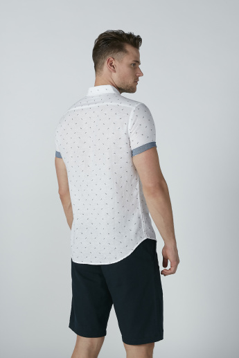 Bossini Printed Shirt with Short Sleeves and Chest Pocket Detail