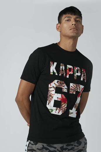 33d509519c9 Kappa Printed T-shirt with Round Neck and Short Sleeves | Black