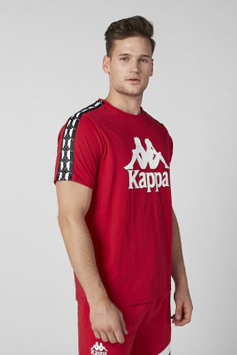 e42a8a38146 Kappa Printed T-shirt with Crew Neck and Tape Detail | Red