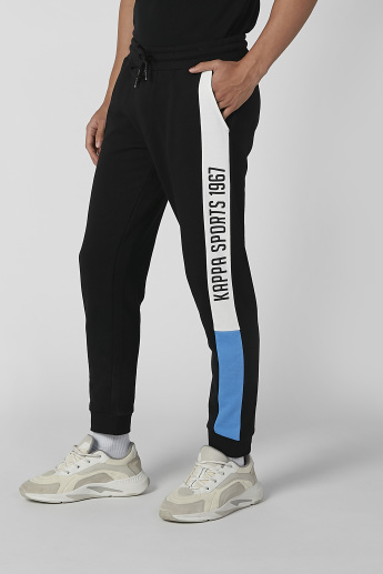 Kappa Full Length Printed Jog Pants with Pocket Detail and Drawstring