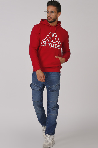 Kappa Printed Sweatshirt with Kangaroo Pockets and Hood