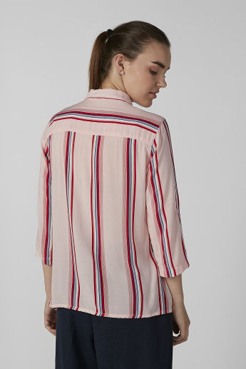 Bossini Striped Shirt with 3/4 Sleeves and Complete Placket