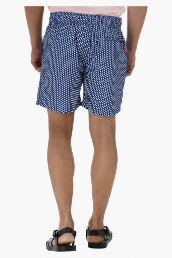 Printed Board Shorts with Back Zip Pocket
