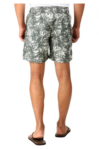 Printed Basic Board Shorts in Regular Fit
