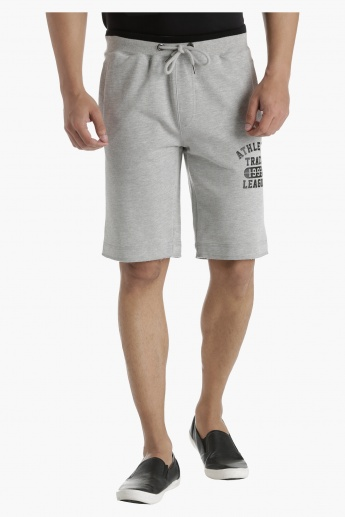 Printed Half-Length Shorts with Waistband Tipping