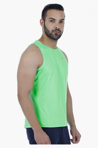 Sleeveless Printed T-Shirt with Mesh Detail