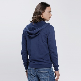 Hooded Jacket with Zip Closure and Long Sleeves