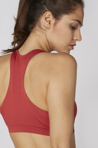 Textured Sports Bra with Scoop Neck and Racer Back