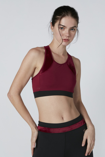 Racerback Sports Bra with Cut and Sew Detail