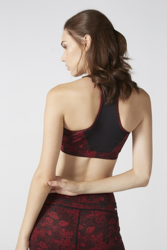 Floral Printed Sports Bra with Racerback