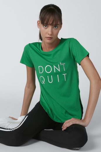 Don't Quit Printed Round Neck T-Shirt with Short Sleeves
