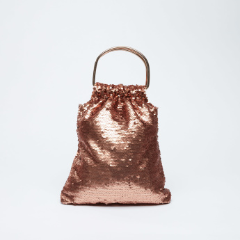 Sequin Detail Handbag with Magnetic Snap Closure