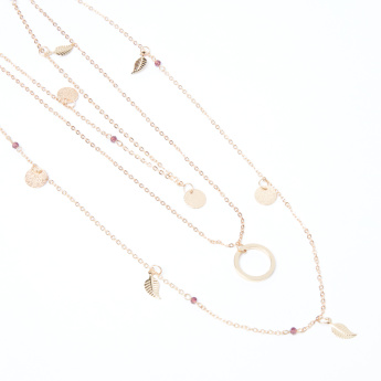 Multi-Layer Charms Necklace with Lobster Clasp