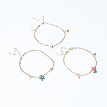 Studded Anklet with Lobster Clasp - Set of 3