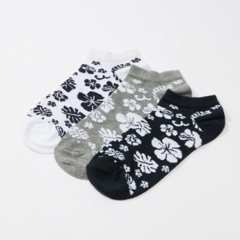 Floral Printed Ankle Length Socks - Set of 3