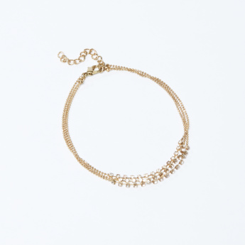 Studded Multi-Layer Anklet with Lobster Clasp