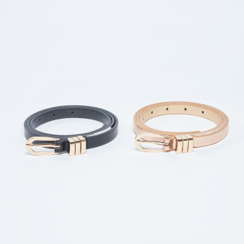 Metallic Buckle Belt - Set of 2