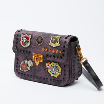 Studded Satchel Bag with Applique Detail
