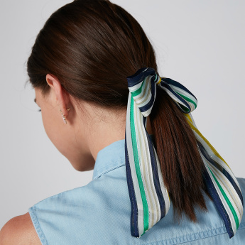 Striped Hair Tie with Bow Detail