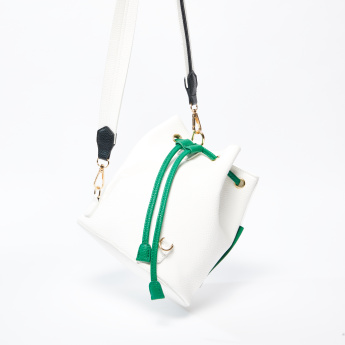 Textured Backpack with Strap and Drawstring