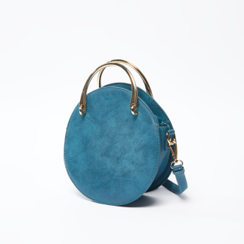 Round Crossbody Bag with Pocket Detail and Detachable Shoulder Strap