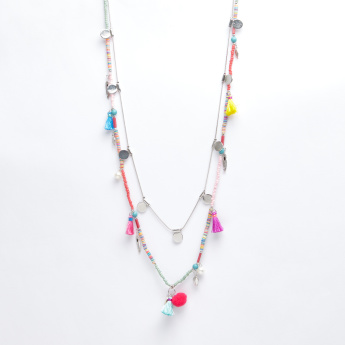 Tassel and Charm Detail Multilayer Necklace with Lobster Clasp