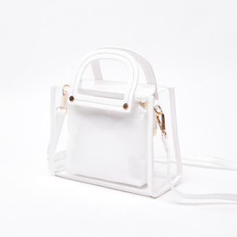 Clear Sling Bag with Twin Handles and Detachable Strap